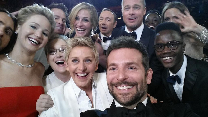 Oscars Selfie, Photograph By Bradley Cooper, 2014